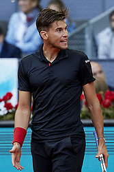May 13, 2018 - Madrid, Madrid, Spain - Dominic Thiem of Austria reacts in his final match against Alexander Zverev of Germany during day nine of the Mutua Madrid Open tennis tournament at the Caja Magica on May 13, 2018 in Madrid, Spain  (Credit Image: © David Aliaga/NurPhoto via ZUMA Press)