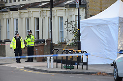 © Licensed to London News Pictures 08/12/2017 London UK Police at the scene in Cassland Road Hackney where a man in his twenties was stabbed on Thursday evening : photo credit Steve Poston/LNP