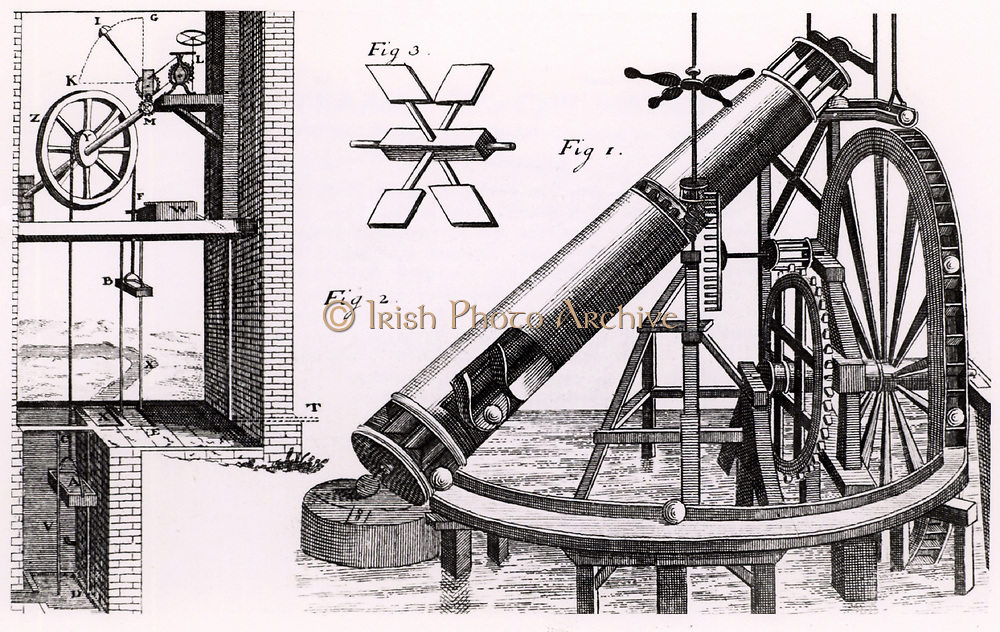 Perpetual motion: A garden fountain worked by water from upper cistern which is filled with water from an Archimedian screw.  The screw is driven by a perpetual motion device using a wheel and lead balls.  The balls are supposed to force the wheel round as they fall from the inside of the wheel to its outer circumference.  Engraving from 'Theatrum Machinarum Novum' by George Andreas Bockler (Nuremberg, 1673).