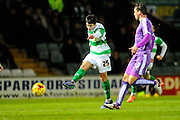 Yeovil Town's Liam Walsh has a shot at goal during the Sky Bet League 2 match between Yeovil Town and Plymouth Argyle at Huish Park, Yeovil, England on 23 February 2016. Photo by Graham Hunt.