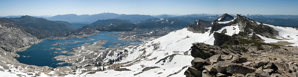 Panorama of Lake Aloha and the Crystal Range from near the summit of Mt. Price in Eldorado National Forest's Desolation Wilderness just lake of Lake Tahoe, California. Mt Agassiz and Pyramid Peak are at right. This is the northern portion of the Sierra Nevada mountains, about an hour east of  the Sacramento.