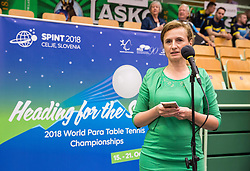 Mojca Leskovar of Thermana Lasko during opening ceremony at 15th Slovenia Open - Thermana Lasko 2018 Table Tennis for the Disabled, on May 9, 2018, in Dvorana Tri Lilije, Lasko, Slovenia. Photo by Vid Ponikvar / Sportida