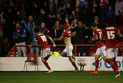 Eric Lichaj of Nottingham Forest (C) celebrates scoring his sides first goal - Mandatory byline: Jack Phillips / JMP - 07966386802 - 20/10/2015 - FOOTBALL - The City Ground - Nottingham, Nottinghamshire - Nottingham Forest v Burnley - Sky Bet Championship