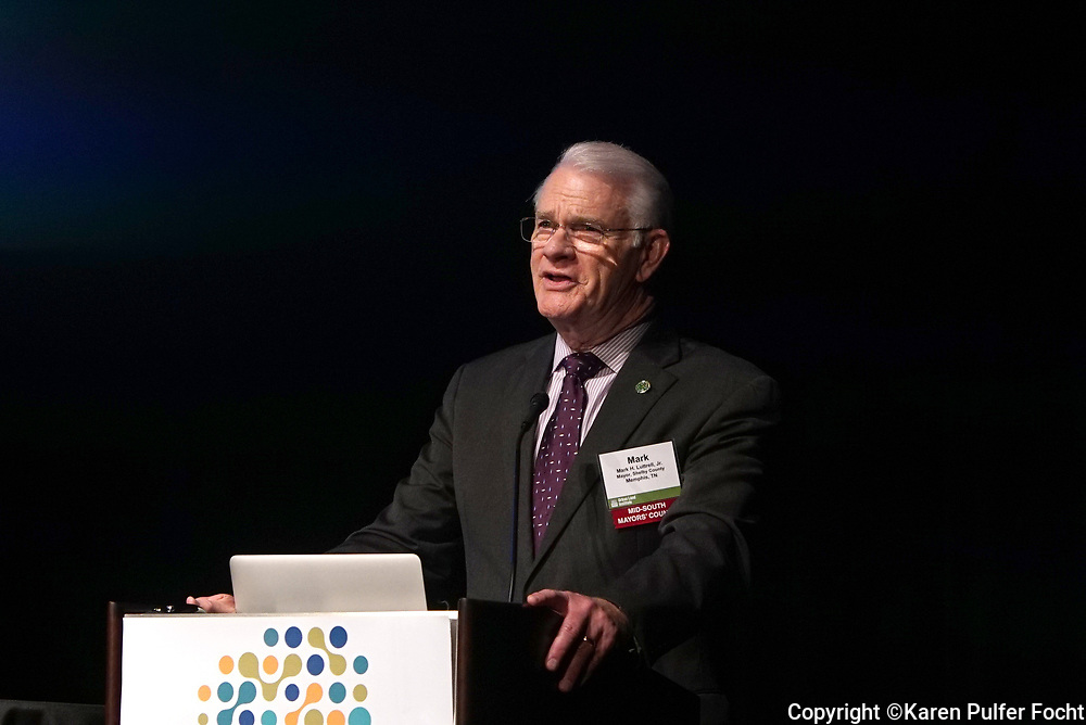 Mark H. Luttrell Jr Shelby County Mayor speaking at the RegionSmart conference in Memphis, Tennessee April 27, 2017.
