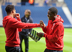 WEST BROMWICH, ENGLAND - Sunday, May 15, 2016: Liverpool's Jordon Ibe and Sheyi Ojo before the final Premier League match of the season against West Bromwich Albion at the Hawthorns. (Pic by David Rawcliffe/Propaganda)