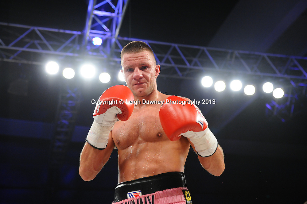 Chris Jenkinson defeats Adam Battle in a Light Middleweight contest. Glow, Bluewater, Kent, UK. Hennessy Sports © Leigh Dawney Photography 2013.