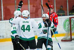 Olimpija players celebrate during Hockey match between HDD Jesenice and HK SZ Olimpija in Alps Hockey League, on December 30, 2017 in Podmezakla, Jesenice, Slovenia. Photo by Ziga Zupan / Sportida