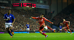 LIVERPOOL, ENGLAND - Tuesday, March 13, 2012: Liverpool's Luis Alberto Suarez Diaz in action against Everton during the Premiership match at Anfield. (Pic by David Rawcliffe/Propaganda)