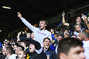 Leeds United fans celebrate Leeds United forward Eddie Nketiah (14) goal during the EFL Sky Bet Championship match between Leeds United and Brentford at Elland Road, Leeds, England on 21 August 2019.