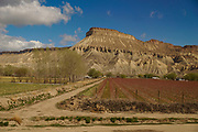 Amtrak Zephyr landscape, farm and mountain from train lounge, Palisades, CO
