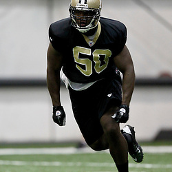 July 27, 2012; Metairie, LA, USA; New Orleans Saints linebacker Curtis Lofton (50) during training camp at the team's indoor practice facility. Mandatory Credit: Derick E. Hingle-US PRESSWIRE