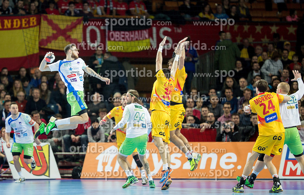 Borut Mackovsek of Slovenia during handball match between National teams of Slovenia and Spain on Day 4 in Preliminary Round of Men's EHF EURO 2016, on January 18, 2016 in Centennial Hall, Wroclaw, Poland. Photo by Vid Ponikvar / Sportida