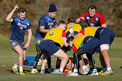 Andy Uren and Elias Caven of Bristol Rugby join in during an England U20 session at Bristol Rugby's training facility ahead of the U20 Six Nations match versus Wales - Mandatory byline: Rogan Thomson/JMP - 08/03/2016 - RUGBY UNION - Clifton Rugby Club - Bristol, England - England Under 20s Training at Bristol Rugby.