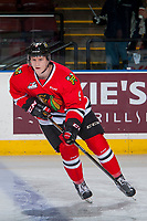 KELOWNA, CANADA - JANUARY 21: Lane Gilliss #9 of the Portland Winterhawks warms up against the Kelowna Rockets on January 21, 2017 at Prospera Place in Kelowna, British Columbia, Canada.  (Photo by Marissa Baecker/Getty Images)  *** Local Caption *** Lane Gilliss;