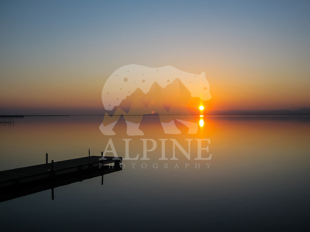 A gorgeous, winter sunset over Albufera lagoon, Valencia, Spain.