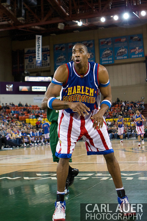 April 30th, 2010 - Anchorage, Alaska:  Harlem Globetrotter front man, Hi-Lite Bruton reacts after passing the ball out of bounds to a Washington General player.