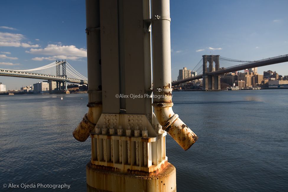 Piers at the East River with Brooklyn and Manhattan bridge's on the background, New York