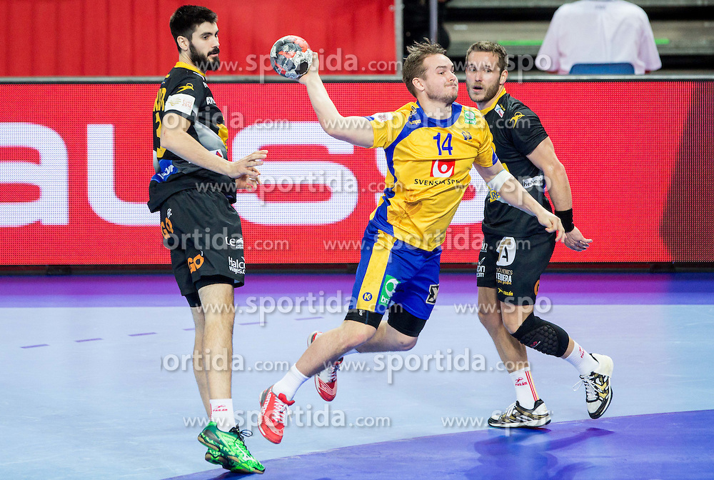 Jesper Konradsson of Sweden between Eduardo Gurbindo of Spain and Victor Tomas of Spain during handball match between National teams of Spain and Sweden on Day 6 in Preliminary Round of Men's EHF EURO 2016, on January 20, 2016 in Centennial Hall, Wroclaw, Poland. Photo by Vid Ponikvar / Sportida