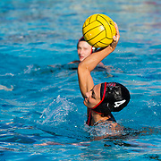 11 February 2018: The San Diego State  women's water polo team competes in day two of the Triton Invitation on the campus of UCSD. San Diego State Aztecs driver Karli Canale (4) scores a goal in the second quarter. The Aztecs took on the #23 CSUN Matadors Sunday morning and came away with a 8-5 win.<br /> More game action at www.sdsuaztecphotos.com