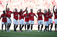 Photo: Rich Eaton.<br /> <br /> Manchester United v Chelsea. FA Community Shield. 05/08/2007. Manchester United players celebrate victory over Chelsea on penalties.