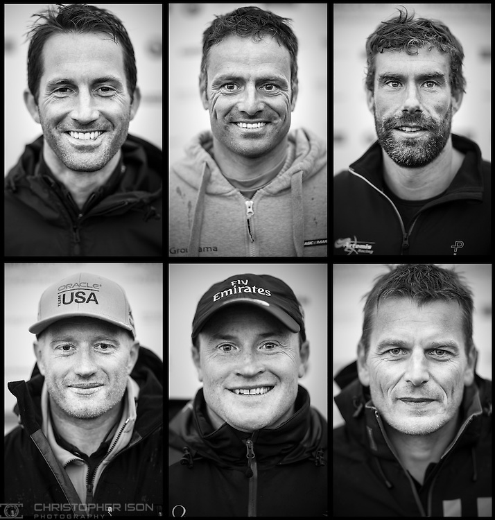 A composite image of the skippers competing at the America&rsquo;s Cup World Series in Portsmouth in July, 2015.<br /> Top row: Sir Ben Ainslie of Land Rover BAR, Franck Cammas of Groupama Team France, Iain Percy of Artemis Racing. Bottom row: Jimmy Spithill of Oracle Team USA, Glenn Ashby of Emirates Team New Zealand, Dean Barker of SoftBank Team Japan.<br /> America's Cup World Series which runs until Sunday. <br /> Picture date: Friday July 24, 2015.<br /> Photograph by Christopher Ison &copy;<br /> 07544044177<br /> chris@christopherison.com<br /> www.christopherison.com