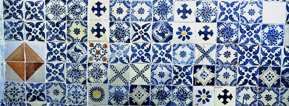 MEXICO, COLONIAL CITIES San Miguel de Allende; a wall of  traditional hand painted talavera ceramic  tile in a private home