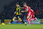 Burton Albion midfielder Calum Butcher skips the ball past Chesterfield FC midfielder Gary Liddle during the Sky Bet League 1 match between Burton Albion and Chesterfield at the Pirelli Stadium, Burton upon Trent, England on 12 February 2016. Photo by Aaron Lupton.