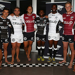 DURBAN, SOUTH AFRICA, December 3 2015 - Paul Jordaan with Dale Chadwick Andre Esterhuizen Sibusiso Sithole Wandile Mjekevu Daniel Du Preez during The Cell C Sharks Official Launch and unveiling of The Cell C Sharks Super Rugby Jersey at Growthpoint Kings Park in Durban, South Africa. (Photo by Steve Haag)<br /> images for social media must have consent from Steve Haag