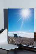 Photo greeting card with Santa Monica beach, sun burst, blue sky, ocean, lifeguard station, California, West LA card, paper goods, Los Angles, Southern CA.