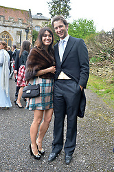 The HON.WILLIAM ASTOR and his wife LOHRALEE at the wedding of Princess Florence von Preussen second daughter of Prince Nicholas von Preussen to the Hon.James Tollemache youngest son of the 5th Lord Tollemache held at the Church of St.Michael & All Angels, East Coker, Somerset on 10th May 2014.