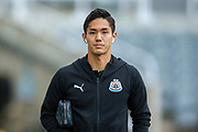 Yoshinori Muto (#13) of Newcastle United arrives ahead of the Premier League match between Newcastle United and Watford at St. James's Park, Newcastle, England on 3 November 2018.