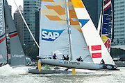 SAP compete in practice races for the first of the Extreme Sailing Series regattas being sailed in Singapore. 19/2/2014