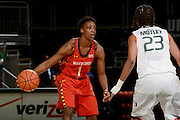 February 13, 2014: Laurin Mincy #1 of Maryland in action during the NCAA basketball game between the Miami Hurricanes and the Maryland Terrapins at the Bank United Center in Coral Gables, FL. The Terrapins defeated the Hurricanes 67-52.