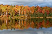 Blazing fall colors surround Lake Plumbago in Michigan's Upper Peninsula