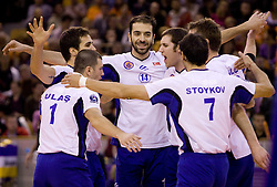 Erhan Dunge and Players  of Istanbul  celebrate  at volleyball match of CEV Indesit Champions League Men 2009/2010 between ACH Volley Bled (SLO) and Istanbul Buyuksehir BLD (TUR), on December 9, 2009 in Arena Tivoli, Ljubljana, Slovenia. (Photo by Vid Ponikvar / Sportida)