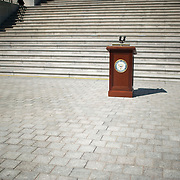 A podium is set up before a 9/11 tribute on the East Front of the Capitol Building on Tuesday, Sept. 11th, 2012 in Washington.