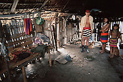 Santo Domingo, Ecuador; interior, Colorado Indian home.