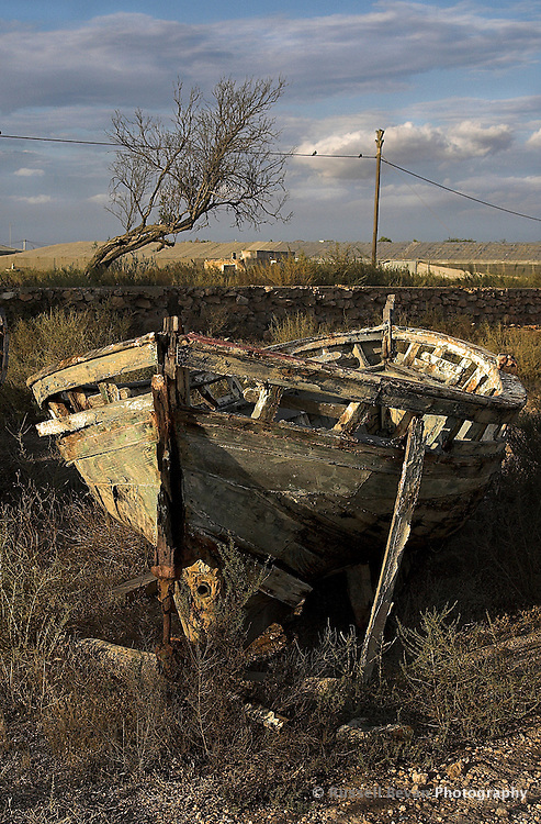An abandoned old boat in Cabo de Gata, Almeria, Spain