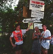 Muddy lane stewards, at Glastonbury, 1989.