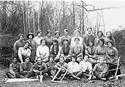 Holding the Home Front<br /> The Women&rsquo;s Land Army in the First World War book by Pen and sward<br /> <br /> Within days of the start of the First World War there were calls for women to come to the fields, but it would be almost three years before the Women&rsquo;s Land Army was established. In that time though, various private and public initiatives would be launched to pull women onto the land. The Women&rsquo;s Land Army would be shaped as much by the successes and failures of these earlier enterprises as by the precise requirements of 1917. It was a process of evolution, not revolution, and agricultural policy had also evolved over the course of the first three years of the war. By the spring of 1917 farmers were being called upon to plough out, to push back the borders and extend the cultivated acreage back to the highs of the 1870s. Agriculture would thus need most labour just as it had least available. Britain&rsquo;s food security had never looked most precarious than it did at the start of 1917.<br /> <br /> Photo Shows:  Beatrice Bennett and fellow timber workers at Chilgrove Camp, West Sussex, 1918.  <br /> &copy;Pen and sward/Exclusivepix Media