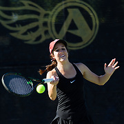 10 November 2017:  The San Diego State Aztecs women's tennis team hosts it's annual Fall Classic II. Abigail Mulbarger seen here returning a serve during a doubles match Friday morning. <br /> www.sdsuaztecphotos.com