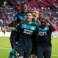 UTRECHT, FC Utrecht - PSV, voetbal, Eredivisie seizoen 2016-2017, 06-08-2016, Stadion De Galgenwaard, PSV viert de 1-2 van PSV speler Gaston Pereiro (2L).