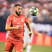 MEADOWLANDS, NEW JERSEY- August 7:   Karim Benzema #9 of Real Madrid in action during the Real Madrid vs AS Roma International Champions Cup match at MetLife Stadium on August 7, 2018 in Meadowlands, New Jersey. (Photo by Tim Clayton/Corbis via Getty Images)