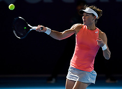 DOHA, Feb. 13, 2019  Samantha Stosur of Australia hits a return during the women's singles first round match against Karolina Muchova of the Czech Republic at the 2019 WTA Qatar Open in Doha, Qatar, on Feb. 12, 2019. Samantha Stosur lost 0-2. (Credit Image: © Yangyuanyong/Xinhua via ZUMA Wire)