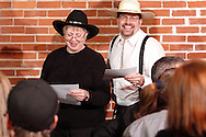 "Jerry Francis as Charles Stun (right) during Mayhem & Mystery's production of ""Deadly Dancing"" at the Spaghetti Warehouse in downtown Dayton, Monday, January 7, 2013."