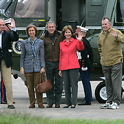 Pres. Bush, first lady Laura Bush, and former President George H. W. Bush greet King Juan Carlos and Queen Sophia of Spain Wednesday, November 24, 2004, on the Bush Ranch in Crawford, TX...Photo by Khue Bui
