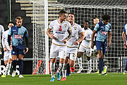 Milton Keynes Dons midfielder Brennan Dickenson (11) scores a goal and celebrates  1-0  during the EFL Trophy match between Milton Keynes Dons and Wycombe Wanderers at stadium:mk, Milton Keynes, England on 12 November 2019.
