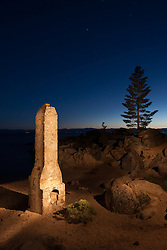 """The Chimney at Chimney Beach"" - Photograph at night of the chimney at Chimney Beach, Lake Tahoe. A technique called light painting was used where the chimney was ""painted"" with a flashlight during a long exposure."