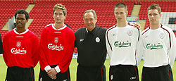 LIVERPOOL, ENGLAND - Thursday, July 10, 2003: Liverpool's manager Gerard Houllier with his new signings (L-R) Florent-Sinama Pongolle, Harry Kewell, Anthony Le Tallec and Steve Finnan at Anfield. (Pic by David Rawcliffe/Propaganda)