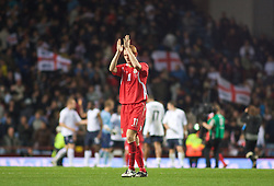 BIRMINGHAM, ENGLAND - Monday, October 13, 2008: Wales' Shaun MacDonald looks dejected after losing to England during the UEFA European Under-21 Championship Play-Off 2nd Leg match at Villa Park. (Photo by Gareth Davies/Propaganda)